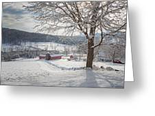 New England Winter Farms Morning Greeting Card