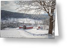 New England Winter Farms Morning Square Greeting Card