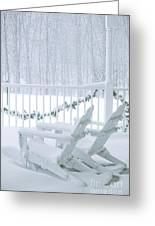 New England Winter Porch Greeting Card