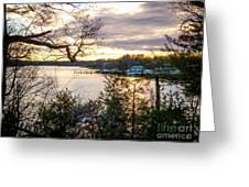 New England Winter Sunset Greeting Card