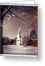 New England Winter Village Scene Greeting Card