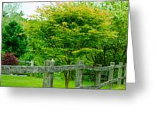 New England Wooden Fence Greeting Card