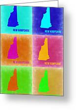 New Hampshire Pop Art Map 2 Greeting Card