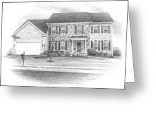 New House Pencil Portrait Greeting Card