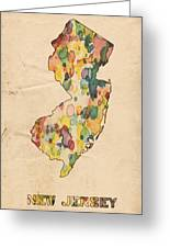 New Jersey Map Vintage Watercolor Greeting Card