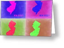 New Jersey Pop Art Map 2 Greeting Card