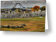 New Lake Champlain Bridge Over Fort Crown Point Panorama Greeting Card