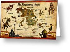 New Map Of The Kingdoms Of Magic Greeting Card