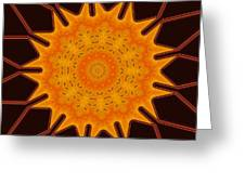 New Media Art Marigold On Mocha Kaleidoscope  Greeting Card