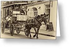New Orleans - Carriage Ride Sepia Greeting Card