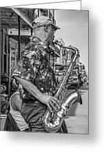 New Orleans Jazz Sax Bw Greeting Card
