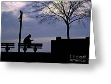 New Orleans Riverwalk Silhouette Greeting Card