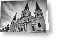 New Orleans St Louis Cathedral Bw Greeting Card
