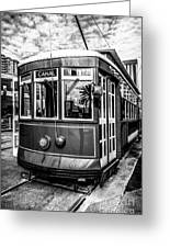 New Orleans Streetcar Black And White Picture Greeting Card