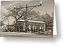 New Orleans Streetcar Sepia Greeting Card
