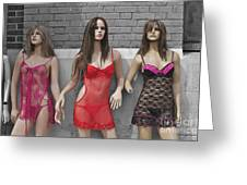 Sex Sells Mannequins In Lingerie In Downtown Los Angeles  Greeting Card