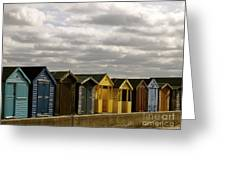 Colourful Wooden English Seaside Beach Huts Greeting Card