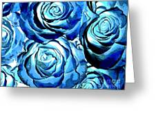 Pop Art Blue Roses Greeting Card