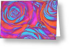 Pop Art Pink Neon Roses Greeting Card