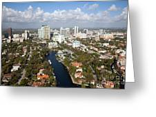 New River And Downtown Fort Lauderdale Greeting Card
