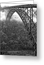 New River Gorge Bridge Black And White Greeting Card