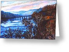 New River Trestle In Fall Greeting Card