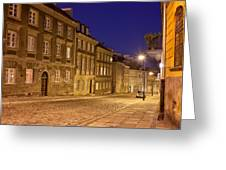 New Town Street And Houses At Night In Warsaw Greeting Card