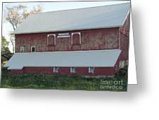 New White Roof  Old Red Barn Greeting Card
