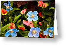 New World And Old World Exotic Flowers Greeting Card
