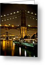 New York - Brooklyn Bridge Night Greeting Card