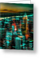New York - The Night Awakes - Green Greeting Card by Hannes Cmarits