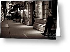 New York At Night - The Phone Call - Theatre District Greeting Card