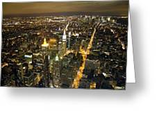 New York By Night Greeting Card