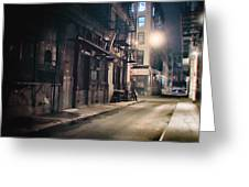 New York City Alley At Night Greeting Card