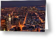 New York City At Night Greeting Card