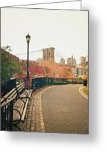 New York City - Autumn - Brooklyn Bridge And Foliage Greeting Card