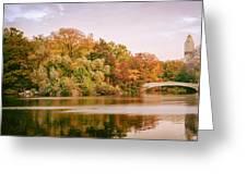New York City - Autumn - Central Park - Lake And Bow Bridge Greeting Card