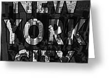 New York City - Black Greeting Card by Nicklas Gustafsson