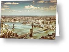 New York City - Brooklyn Bridge And Manhattan Bridge From Above Greeting Card