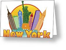 New York City Colorful Skyline In Circle Illustration Greeting Card