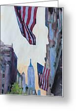New York City - Manhattan Stars And Stripes Greeting Card