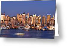 New York City Midtown Manhattan At Dusk Greeting Card