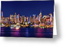 New York City Nyc Midtown Manhattan At Night Greeting Card by Jon Holiday