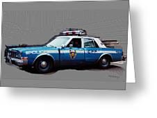 Vintage New York City Police Car 1980s Greeting Card