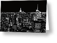 New York City Skyline At Night Greeting Card