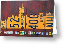 New York City Skyline License Plate Art 911 Twin Towers Statue Of Liberty Greeting Card