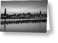 New York City Skyline Stillness Bw Greeting Card