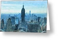 New York City Skyline Summer Day Greeting Card
