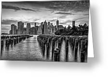 New York City Skyline Sunset Hues Bw Greeting Card