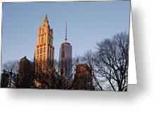 New York City Skyline Through The Trees Greeting Card